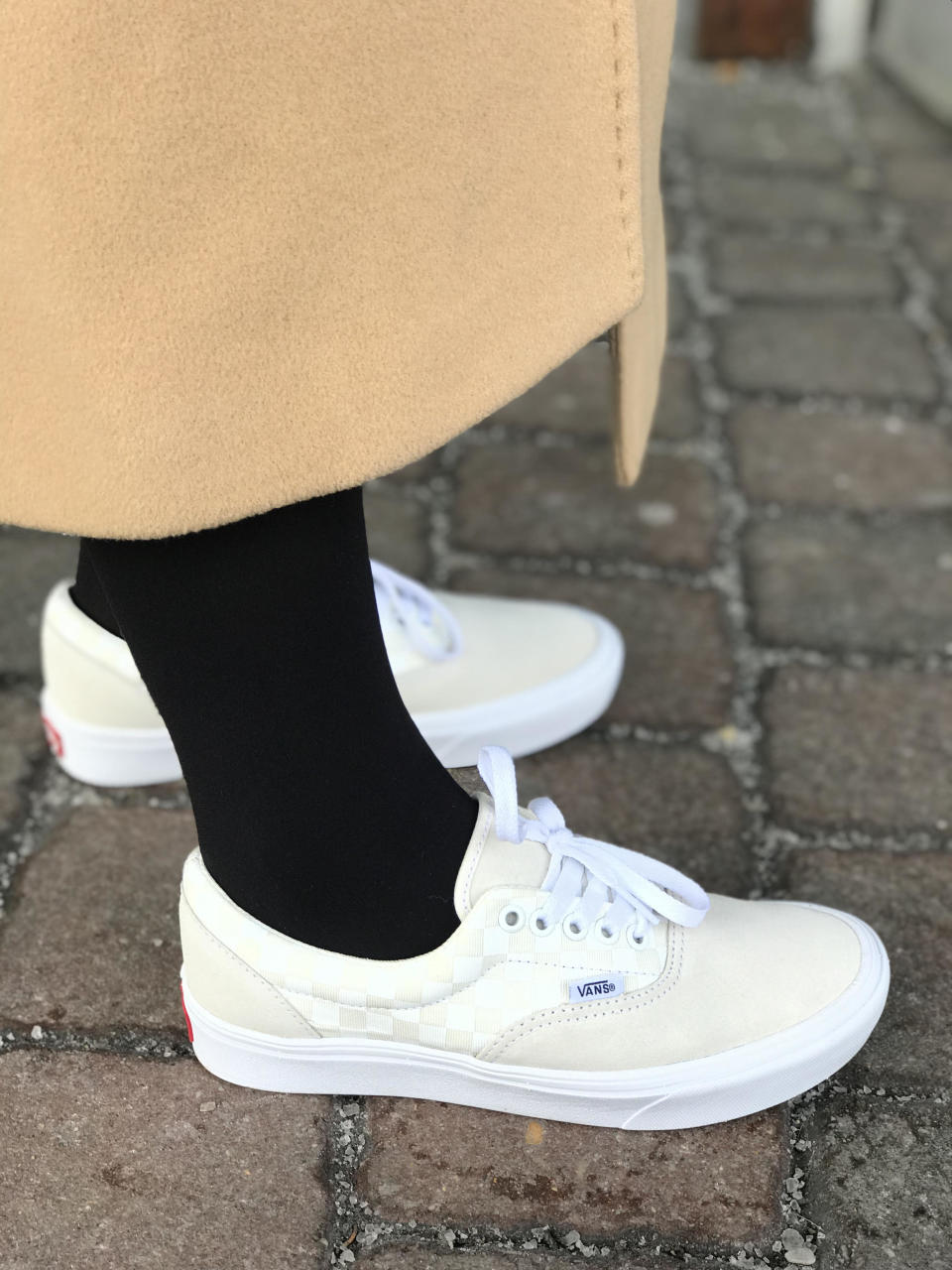 Julie Tong, Yahoo Lifestyle's fashion editor, tests out the new Vans ComfyCush Era sneakers in Syracuse, N.Y. (Photo: Julie Tong)