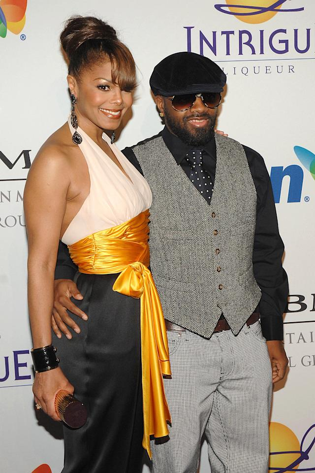 Janet Jackson and Jermaine Dupri attend Clive Davis's pre-Grammy party in 2008. (Photo: Getty Images)