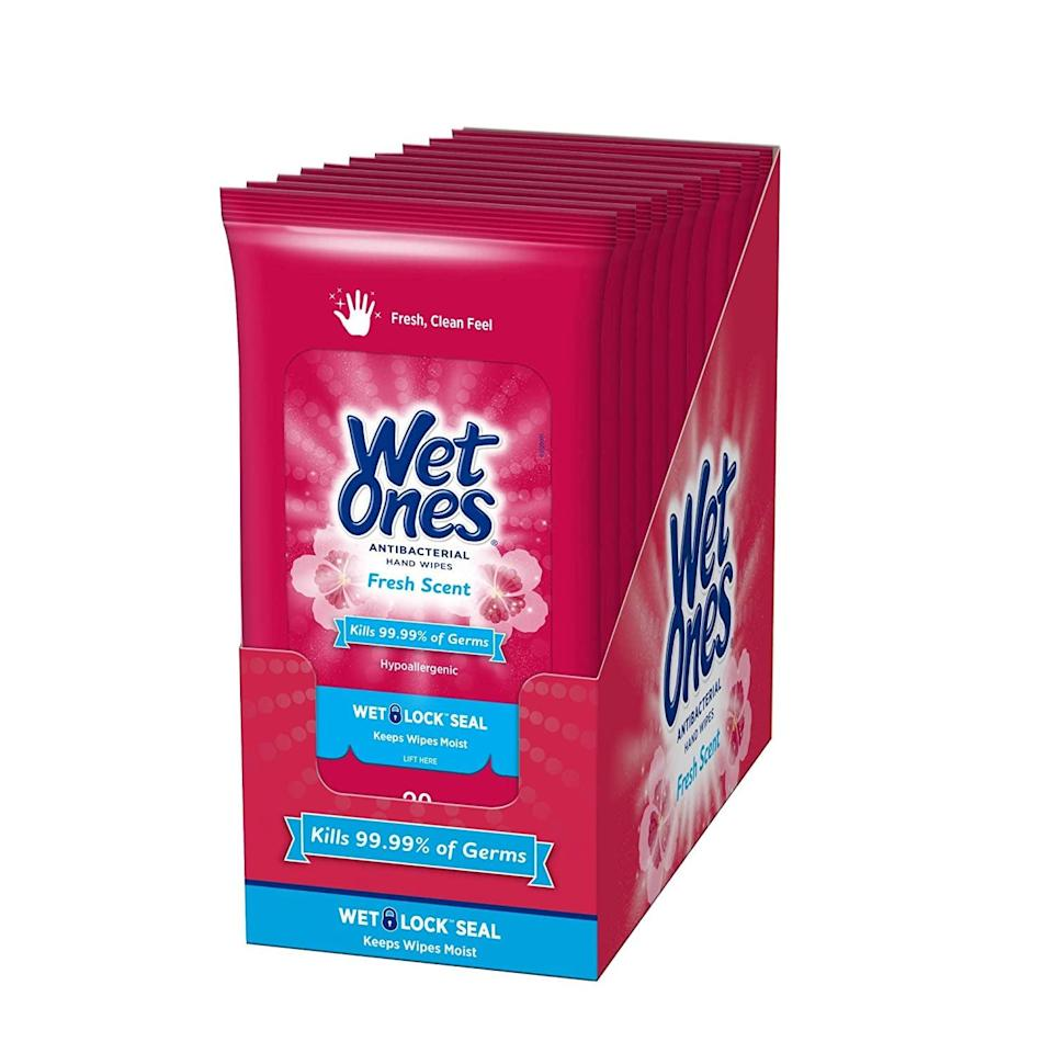 <p>These <span>Wet Ones Antibacterial Hand Wipes</span> ($17 for 10) are essential for wiping down your seat. We don't leave home without them.</p>