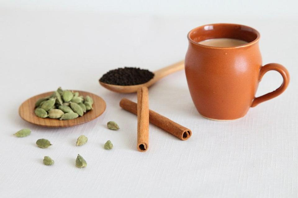 """Get the best <a href=""""https://www.diasporaco.com/products/pepper"""" rel=""""nofollow noopener"""" target=""""_blank"""" data-ylk=""""slk:black pepper"""" class=""""link rapid-noclick-resp"""">black pepper</a> and <a href=""""https://www.diasporaco.com/products/cardamom"""" rel=""""nofollow noopener"""" target=""""_blank"""" data-ylk=""""slk:cardamom"""" class=""""link rapid-noclick-resp"""">cardamom</a> if you're making this homemade chai. <a href=""""https://www.epicurious.com/recipes/food/views/homemade-chai-201226?mbid=synd_yahoo_rss"""" rel=""""nofollow noopener"""" target=""""_blank"""" data-ylk=""""slk:See recipe."""" class=""""link rapid-noclick-resp"""">See recipe.</a>"""