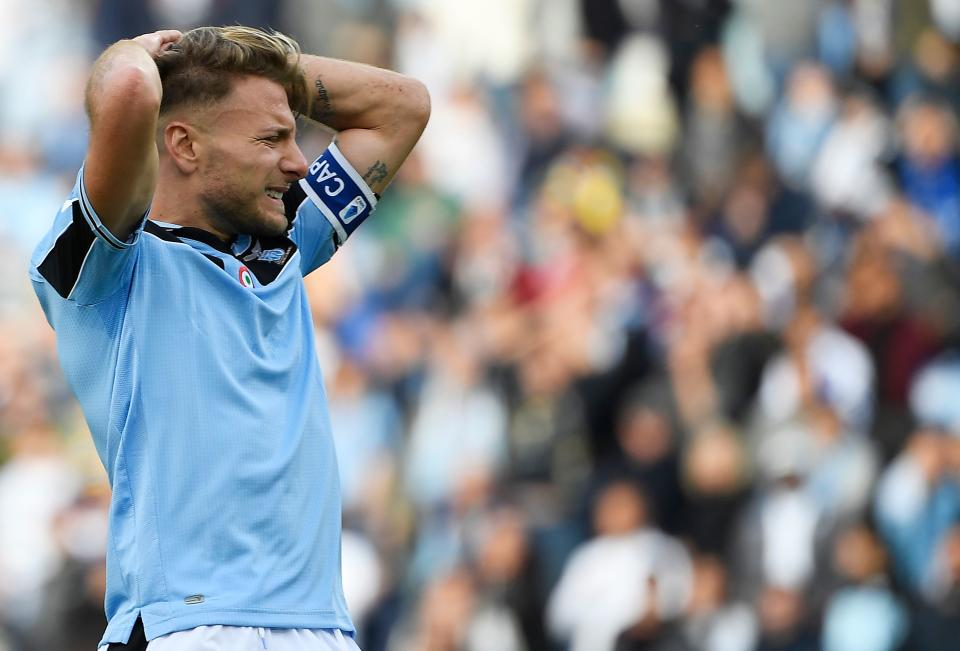 Will the Serie A title push of Ciro Immobile and Lazio fall apart because of the coronavirus layoff? (Photo by FILIPPO MONTEFORTE/AFP via Getty Images)