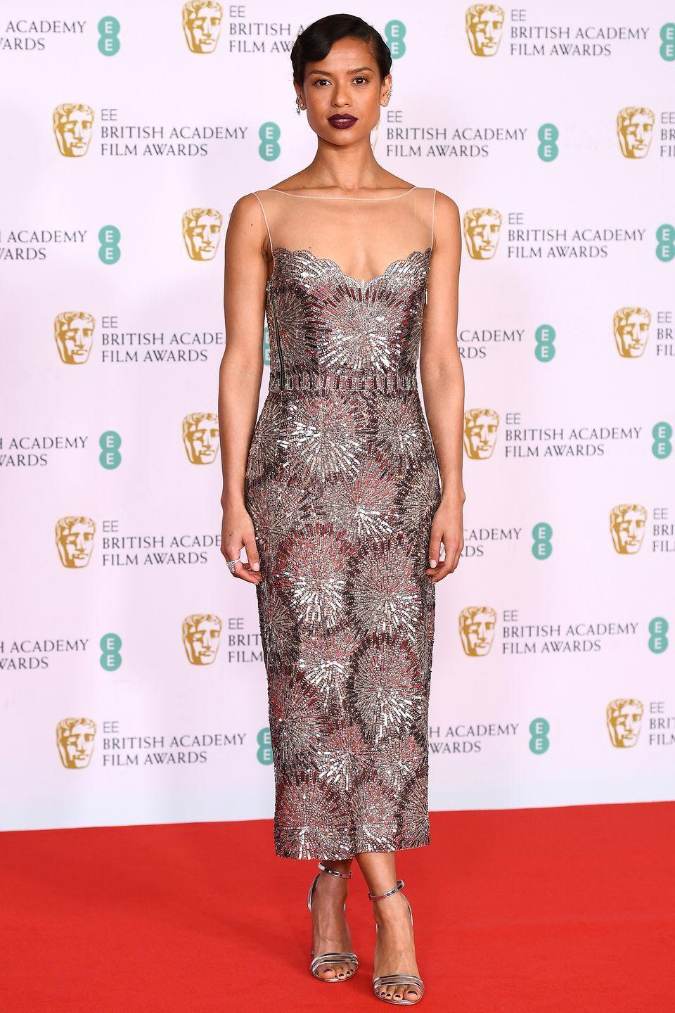 <p>Gugu Mbatha-Raw also wore one of her best red-carpet looks to date for the 2021 BAFTAs, choosing a beautiful embellished dress by Louis Vuitton which she teamed with strappy sandals and an old Hollywood-inspired beauty look.</p>