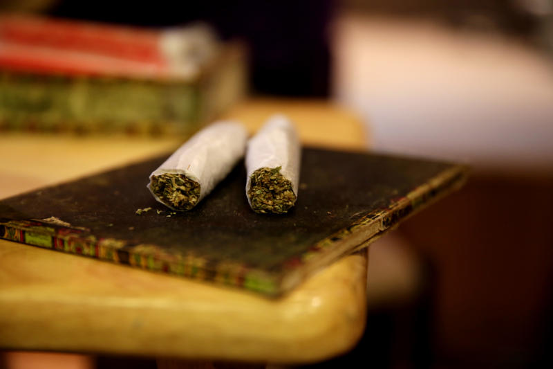 Two joints are displayed during a joint class at Hempfest on April 20, 2014 in Seattle, Washington