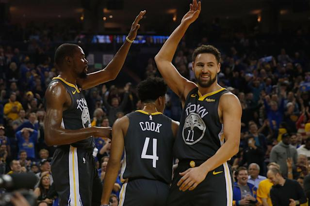 NBA 2K20 will exist in an alternate reality where Kevin Durant and Klay Thompson are healthy. (Getty)
