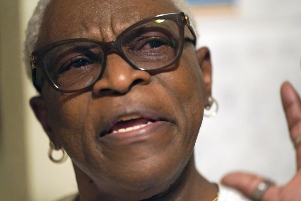 Doris Brown answers a question during an interview inside her home Friday, July 31, 2020, in Houston. Brown's home flooded during Harvey and she's part of a group called the Harvey Forgotten Survivors Caucus. (AP Photo/David J. Phillip)
