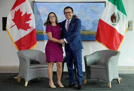 Canadian Minister of Foreign Affairs Chrystia Freeland shakes hands with Mexican Secretary of Economy Ildefonso Guajardo Villarreal before the first round of talks to renegotiate the North American Free Trade Agreement (NAFTA) at the Embassy of Canada in Washington, U.S., August 15, 2017.   REUTERS/Joshua Roberts