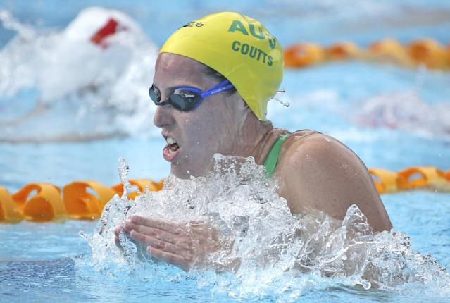 Alicia Coutts of Australia swims breaststroke during her women's 200m individual medley at the Pan Pacific swimming championships in Gold Coast, Australia, Sunday, Aug. 24, 2014. (AP Photo/Rick Rycroft)