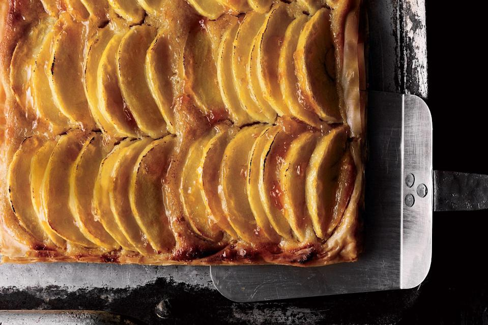 """This French-style tart deserves a sophisticated apple. Our top pick is the Braeburn, which is crisp and sweet-tart with a fruity, almost perfumed flavor. It's a perfect match for the delicate almond filling. The Gala apple makes a nice alternative. <a href=""""https://www.epicurious.com/recipes/food/views/crispy-braeburn-apple-and-almond-sheet-tart-355206?mbid=synd_yahoo_rss"""" rel=""""nofollow noopener"""" target=""""_blank"""" data-ylk=""""slk:See recipe."""" class=""""link rapid-noclick-resp"""">See recipe.</a>"""