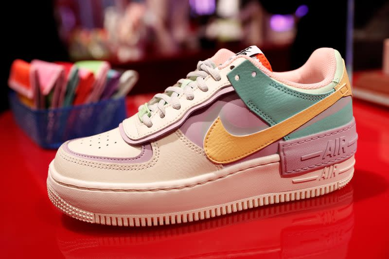 Nike shoes are seen on display at the Nordstrom flagship store during a media preview in New York