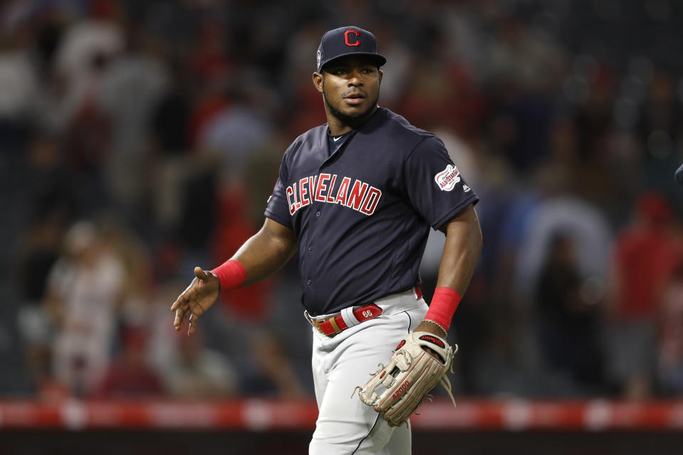 ANAHEIM, CALIFORNIA - SEPTEMBER 11:  Yasiel Puig #66 of the Cleveland Indians walks off the infield during a game against the Los Angeles Angels of Anaheim at Angel Stadium of Anaheim on September 11, 2019 in Anaheim, California. (Photo by Sean M. Haffey/Getty Images)