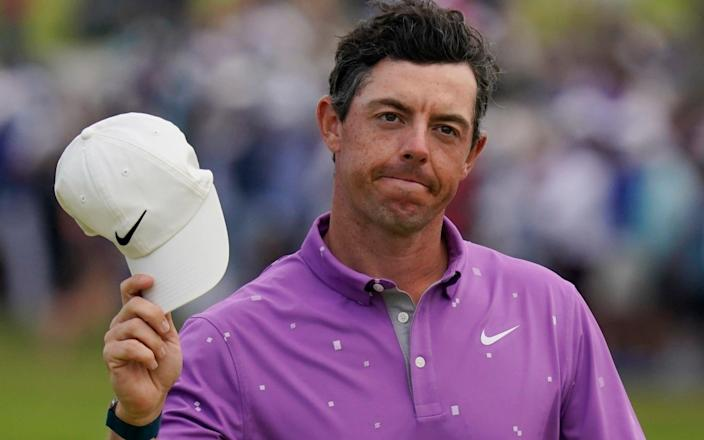 Rory McIlroy was challenging for the lead but fell away on the tough back nine - AP