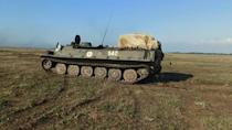 Tank units of the Russian Black Sea fleet hold military drills in Crimea