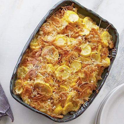 """<p>Why limit French fried onions to green bean <a href=""""https://www.myrecipes.com/casserole-recipes/"""" rel=""""nofollow noopener"""" target=""""_blank"""" data-ylk=""""slk:casserole"""" class=""""link rapid-noclick-resp"""">casserole</a>? We love them on this cheesy squash casserole, too.</p>"""