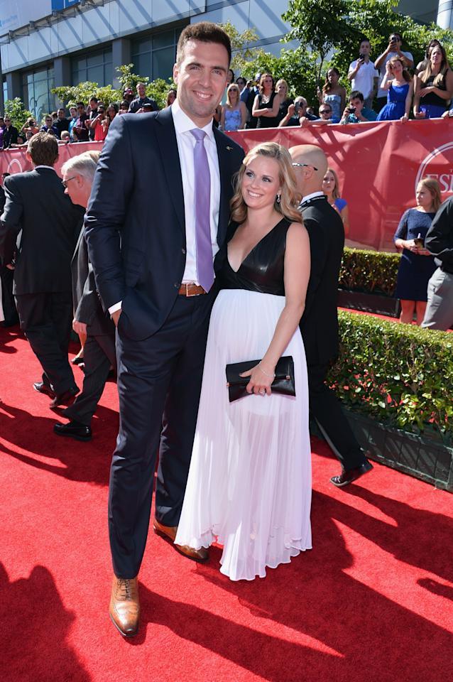 LOS ANGELES, CA - JULY 17: (L-R) NFL player Joe Flacco with wife Dana Grady attend The 2013 ESPY Awards at Nokia Theatre L.A. Live on July 17, 2013 in Los Angeles, California. (Photo by Alberto E. Rodriguez/Getty Images for ESPY)