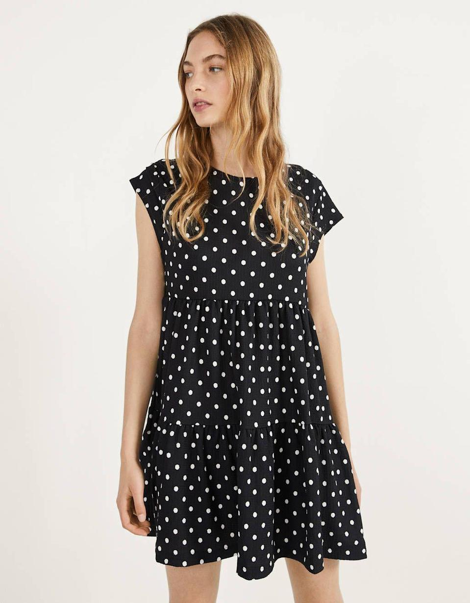 """<p><strong>Bershka</strong></p><p>bershka.com</p><p><strong>$25.90</strong></p><p><a href=""""https://go.redirectingat.com?id=74968X1596630&url=https%3A%2F%2Fwww.bershka.com%2Fus%2Fshort-sleeve-babydoll-dress-c0p102483833.html%3FcolorId%3D060&sref=https%3A%2F%2Fwww.cosmopolitan.com%2Fstyle-beauty%2Ffashion%2Fg30933395%2Ffall-fashion-trends-2020%2F"""" rel=""""nofollow noopener"""" target=""""_blank"""" data-ylk=""""slk:Shop Now"""" class=""""link rapid-noclick-resp"""">Shop Now</a></p><p>Throw this polka-dot one on when you're in a hurry. </p>"""
