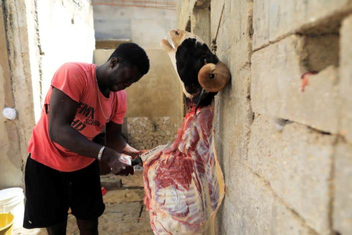FILE PHOTO: A Senegalese Muslim prepares a freshly slaughtered animal after a sacrificial ritual for the Eid al-Adha festival in Dakar