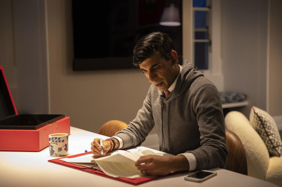 Chancellor Rishi Sunak prepares for his spending review in photos released by the Treasury. Photo: HM Treasury/Simon Walker