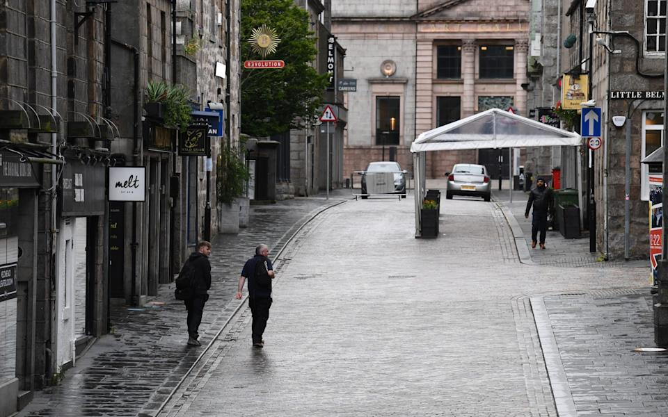 Deserted streets in Aberdeen, after Scotland's first partial local lockdown was ordered - Jeff J Mitchell/Getty