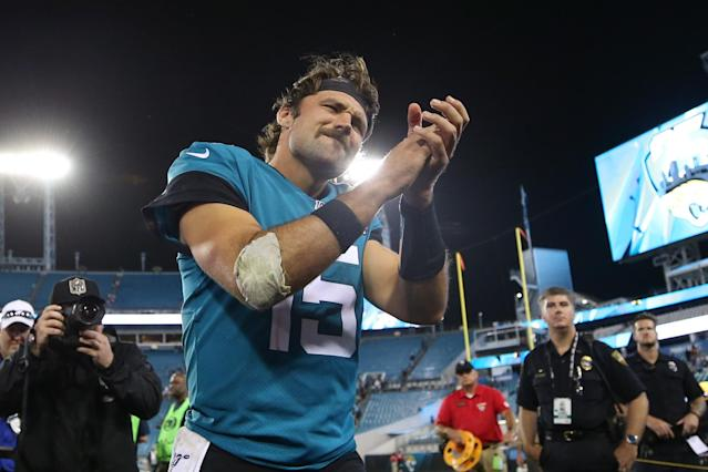 Things change fast in the NFL, and the Jaguars are happy to promote Gardner Minshew as the face of the franchise after his big night. (Getty)