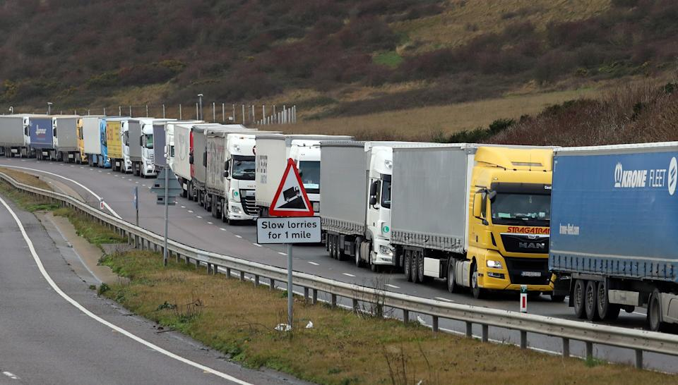Lorries queuing for the port of Dover (PA Wire)