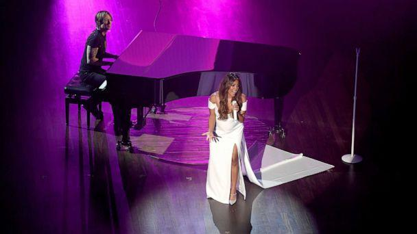 PHOTO: Keith Urban and Mickey Guyton perform onstage during the 55th Academy of Country Music Awards at the Grand Ole Opry on Sept. 16, 2020 in Nashville, Tenn. (Jason Kempin/Getty Images)