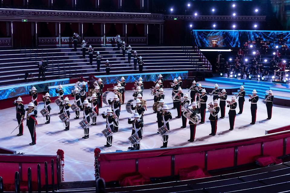 EMBARGOED TO 0001 SATURDAY NOVEMBER 7 Undated handout photo issued by the Royal British Legion of the Band of HM Royal Marines at The Royal British Legion's Festival of Remembrance at The Royal Albert Hall, which will be broadcast on BBC One on Saturday.