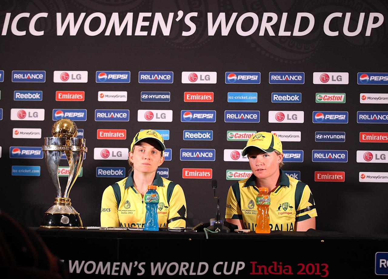 MUMBAI, INDIA - FEBRUARY 17:  Jodie Fields, winning  captain of Australia and Jess Cameron Player of the Match of Australia at the press conference after the final between Australia and West Indies of the Women's World Cup India 2013 played at the Cricket Club of India ground on February 17, 2013 in Mumbai, India. (Photo by Graham Crouch/ICC via Getty Images)
