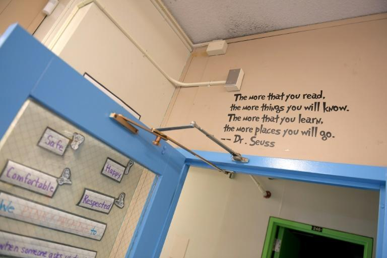 A Dr. Seuss quote is seen painted above a classroom door at Yung Wing School P.S. 124 on August 25, 2020 in New York City
