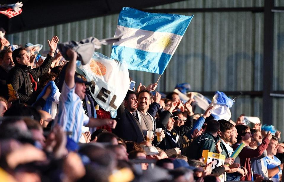 Argentina's supporters celebrate after Rugby World Cup Pool C match Argentina vs Georgia, at Kingsholm stadium in Gloucester, on September 25, 2015 (AFP Photo/Loic Venance)