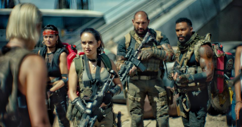 The cast of 'Army of the Dead' from left to right: Nora Arnezeder, Samantha Win, Ana de la Reguera, Dave Bautista and Omari Hardwick (Photo: Netflix)