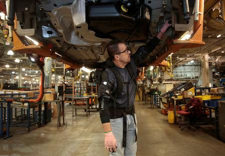Ford ekso team up for 39 bionic 39 auto workers for Ford motor company wayne mi