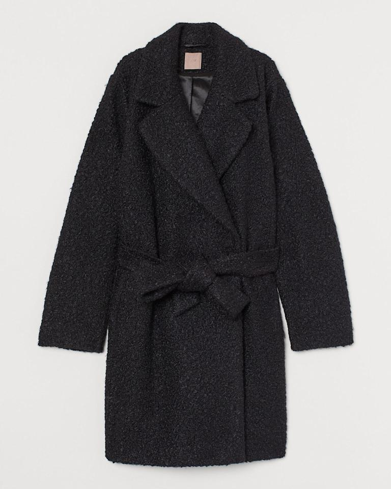 "H&M+ Coat With Tie Belt $69.99, H&M. <a href=""https://www2.hm.com/en_us/productpage.0761937001.html"">Get it now!</a>"