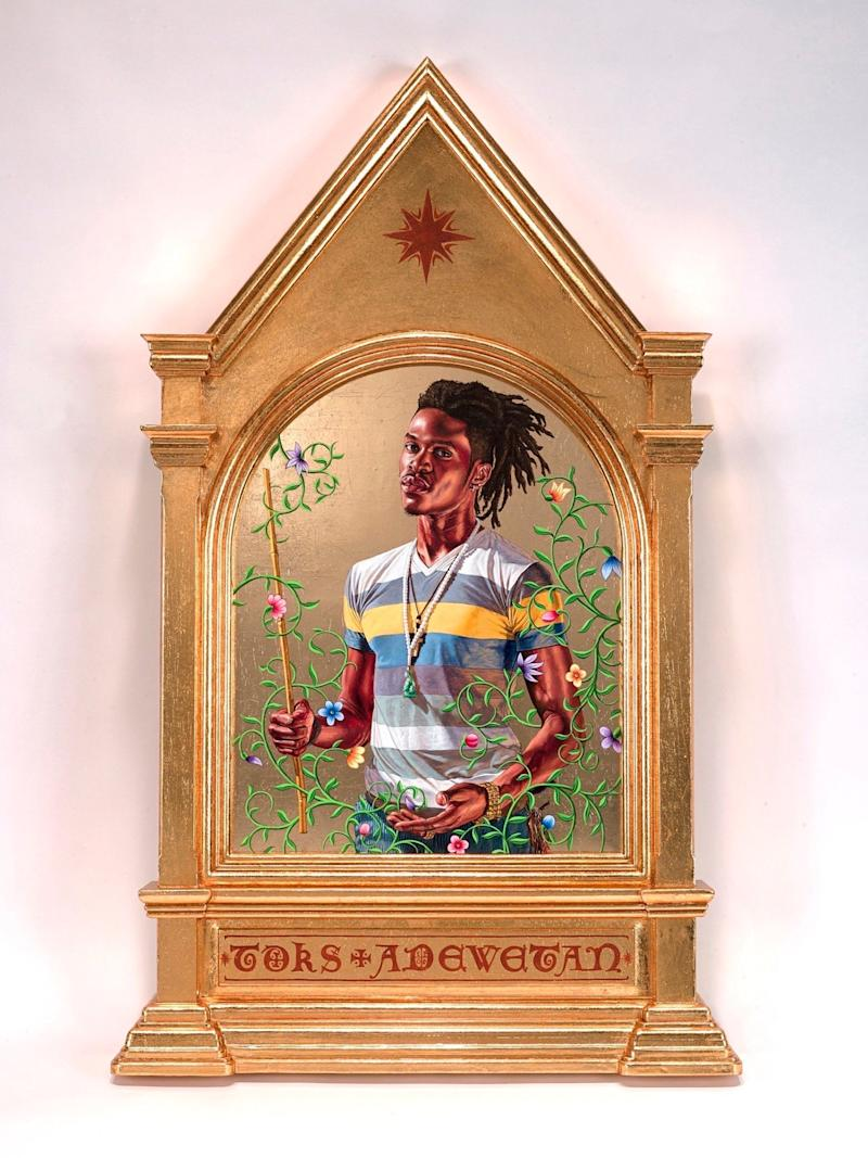 "Kehinde Wiley, ""The Archangel Gabriel,"" 2014/ 22 karat gold leaf and oil on wood panel"