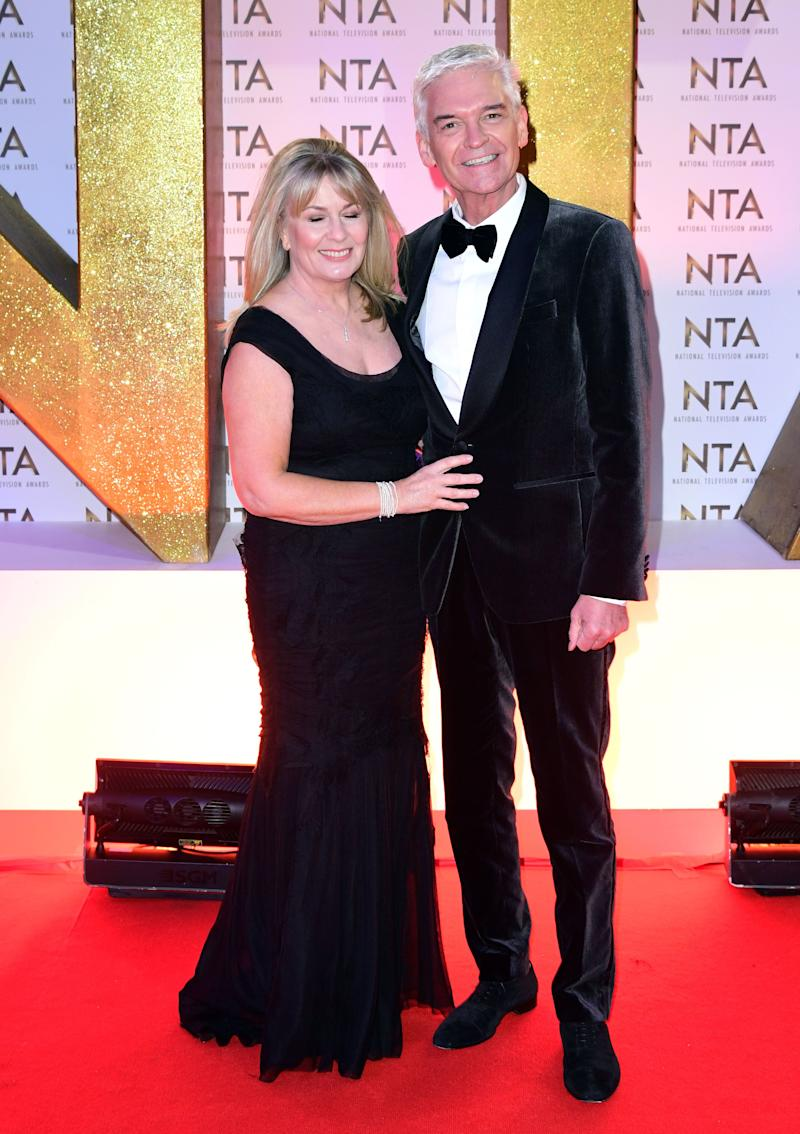 Stephanie Lowe and Phillip Schofield (right) during the National Television Awards at London's O2 Arena. (Photo by Ian West/PA Images via Getty Images)