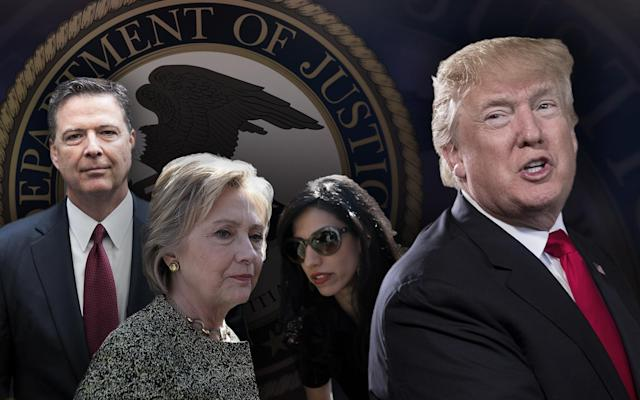 James Comey, Hillary Clinton, Huma Abedin, Donald Trump. (Yahoo News photo illustration; photos: Drew Angerer/Getty Images, Justin Sullivan/Getty Images, Carolyn Kaster/AP, AP)
