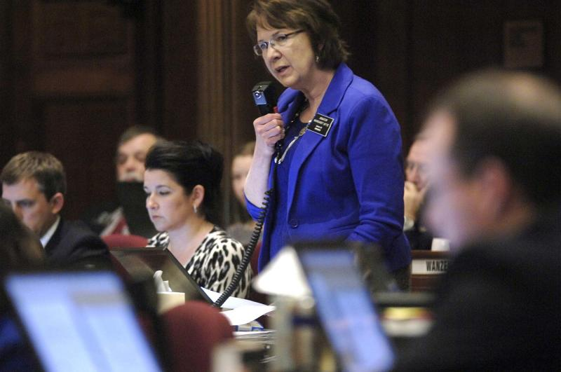 North Dakota state Sen. Margaret Sitte, R-Bismarck, speaks in favor of HB1305 during the chamber floor debate at the state Capitol, Friday, March 15, 2013 in Bismarck, N.D. The North Dakota Senate overwhelmingly approved two anti-abortion bills Friday, one banning abortions as early as six weeks into a pregnancy and another prohibiting the procedure because of genetic defects such as Down syndrome. If the governor signs the measures, North Dakota would be the only state in the U.S. with those laws (AP Photo/The Bismarck Tribune, Mike McCleary)