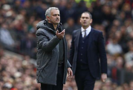 Britain Football Soccer - Manchester United v Swansea City - Premier League - Old Trafford - 30/4/17 Manchester United manager Jose Mourinho and Swansea City manager Paul Clement Action Images via Reuters / Jason Cairnduff Livepic