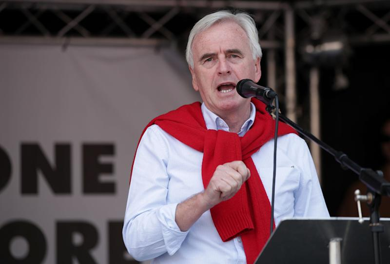 Shadow Chancellor of the Exchequer John McDonnell address an anti-austerity rally in Parliament Square, London, after a march through the city as part of an anti-austerity protest.