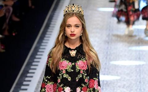 Lady Amelia Windsor walking the runway at the Dolce & Gabbana show during Milan Fashion Week Fall/Winter 2017/18  - Credit: Victor Boyko/Getty Images Europe