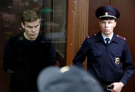 FILE PHOTO: Russian soccer player Kokorin attends a court hearing in Moscow