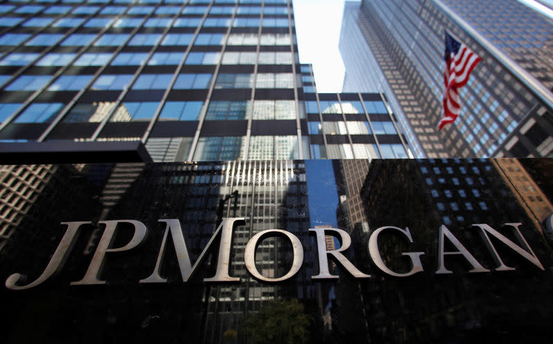 FILE PHOTO: JP Morgan Chase & Co sign outside headquarters in New York