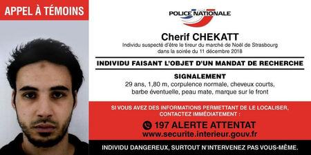 French police posted December 12, 2018 on their Police Nationale Twitter account, a call for witnesses for Strasbourg-born Cherif Chekatt, 29, the day after a gun attack on a Christmas market in Strasbourg, France. French Police Nationale/via Reuters
