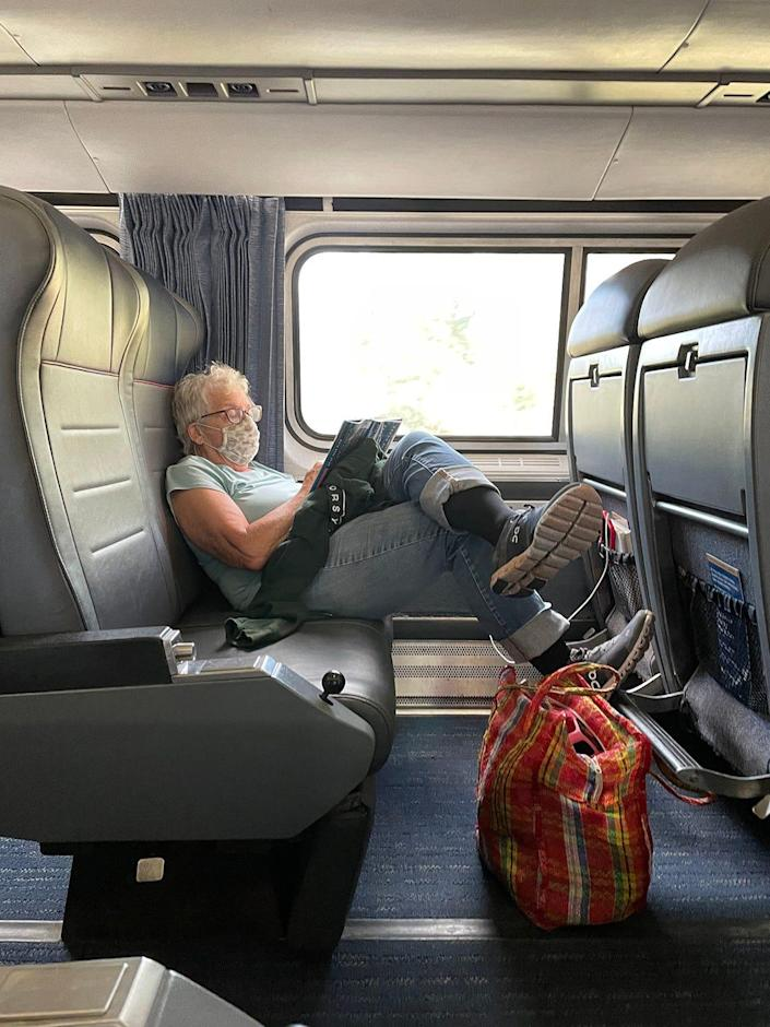 Jane Fishman will tell you from experience, it is easy to read or sleep on the roomy train.