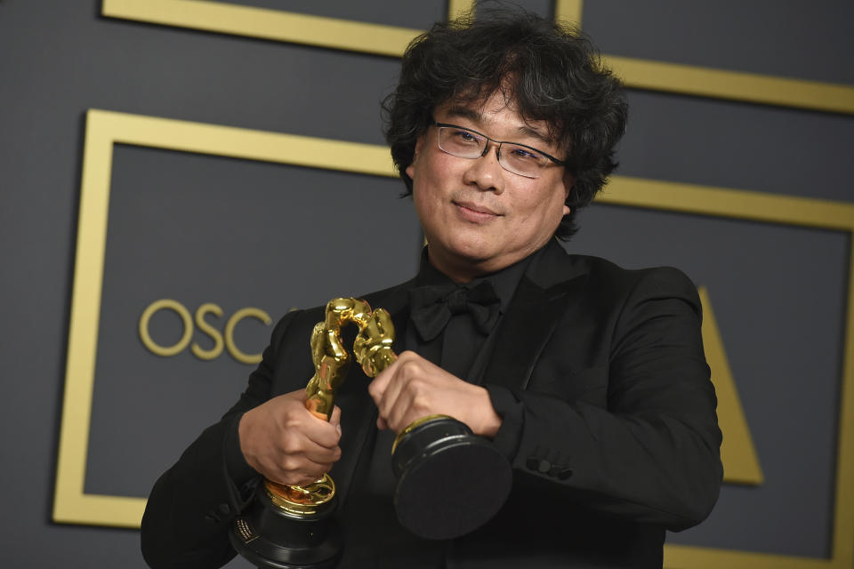 <p>No, really. The South Korean director's film, a critical darling, took home four awards, including for best director and best screenplay. He co-wrote the film with Han Jin-won. (Jordan Strauss/Invision/AP)</p>