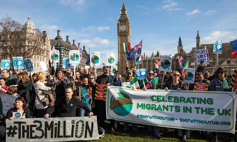 Protesters demonstrate in support of migrant workers and EU citizens in the UK, London, February 2017.