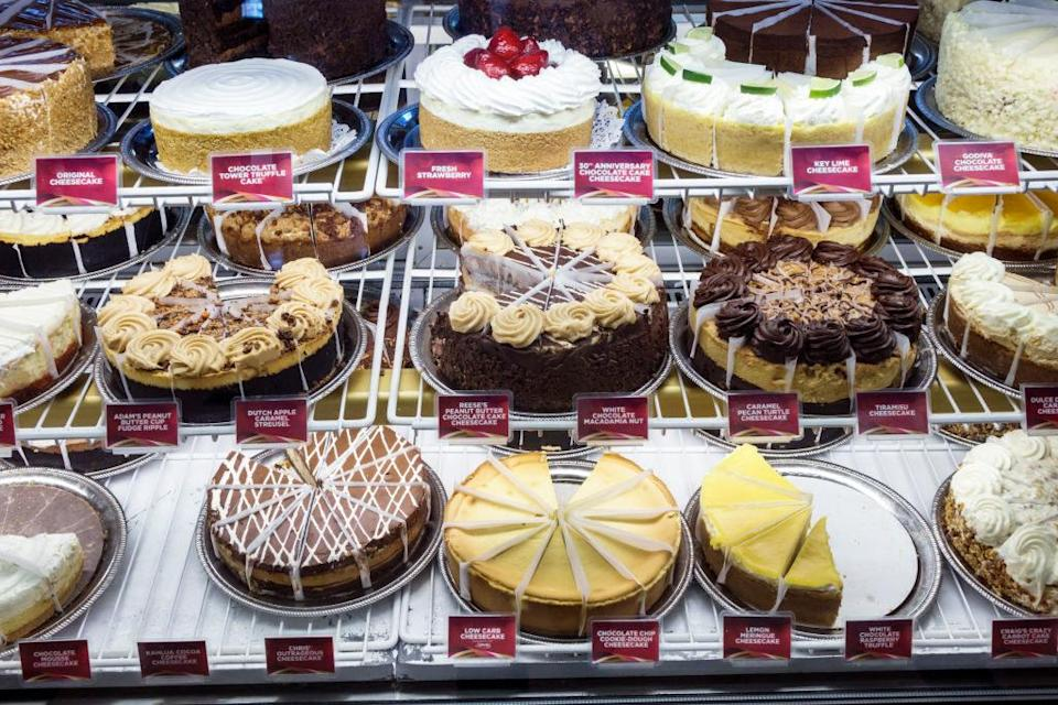 case of assorted cheesecakes at the cheesecake factory