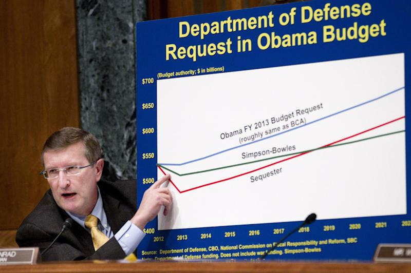 Senate Budget Committee Chairman Sen. Kent Conrad, D-N.D. shows a graph on Capitol Hill in Washington, Tuesday, Feb. 28, 2012, during the committee's hearing on the Defense Department's fiscal 2013 budget. (AP Photo Manuel Balce Ceneta)