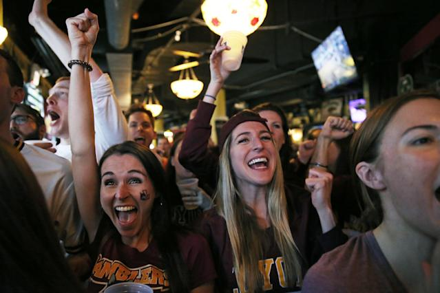 Loyola alums joined students at watch parties on and around campus as the Ramblers beat Kansas State to advance to the Final Four. (Getty)