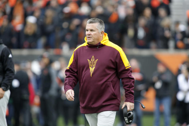 Arizona State head coach Todd Graham during an NCAA college football game, in Corvallis, Ore., Saturday, Nov. 18, 2017. (AP Photo/Timothy J. Gonzalez)