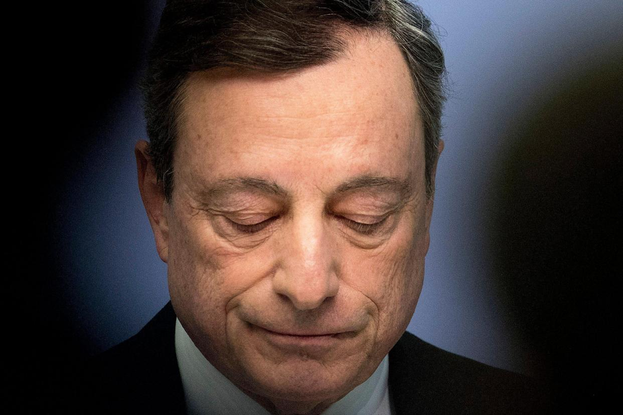 President of European Central Bank Mario Draghi speaks during a press conference following the Governing Council meeting in Frankfurt, Germany, Wednesday, April 10, 2019. (AP Photo/Michael Probst)